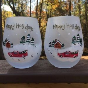 New Frosted Stemless Red Truck Wine Glasses